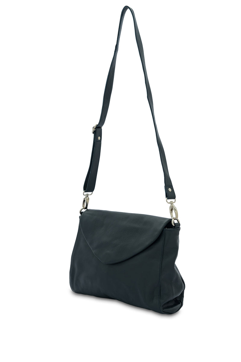 Singapore Leather Crossbody Bag<br>French Navy
