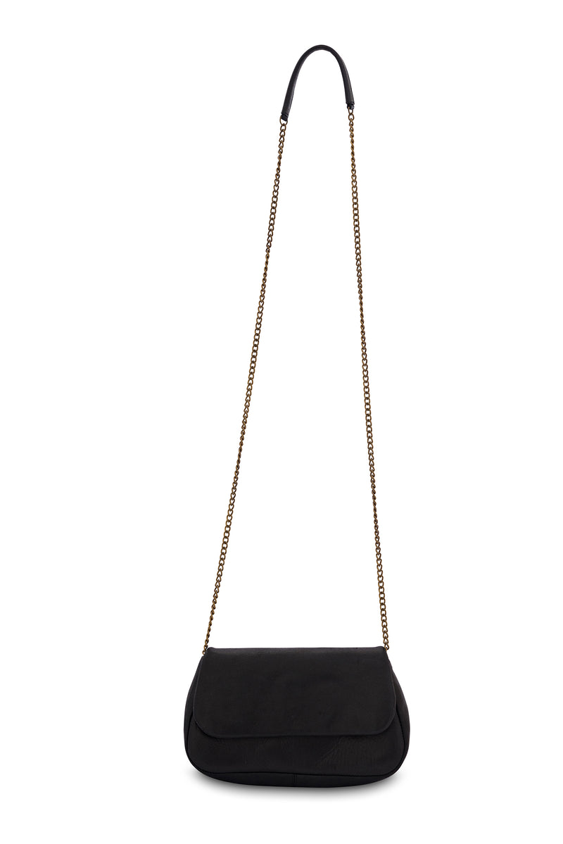 Amsterdam Leather Crossbody Clutch<br>Black