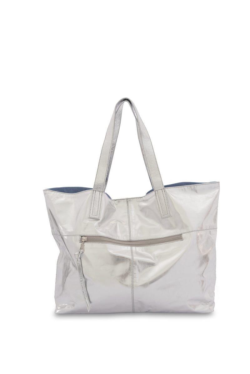 New York Leather Tote Bag<br>Silver