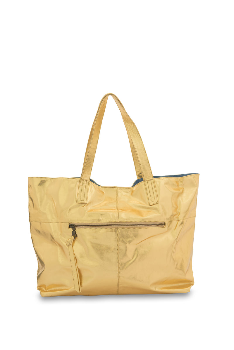 New York Leather Tote Bag<br>Gold