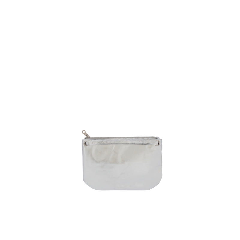 Mini Florence Leather Crossbody Wallet<br>Silver