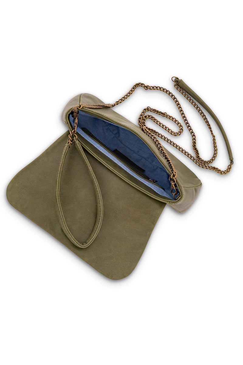Amsterdam Leather Crossbody Clutch<br>Army