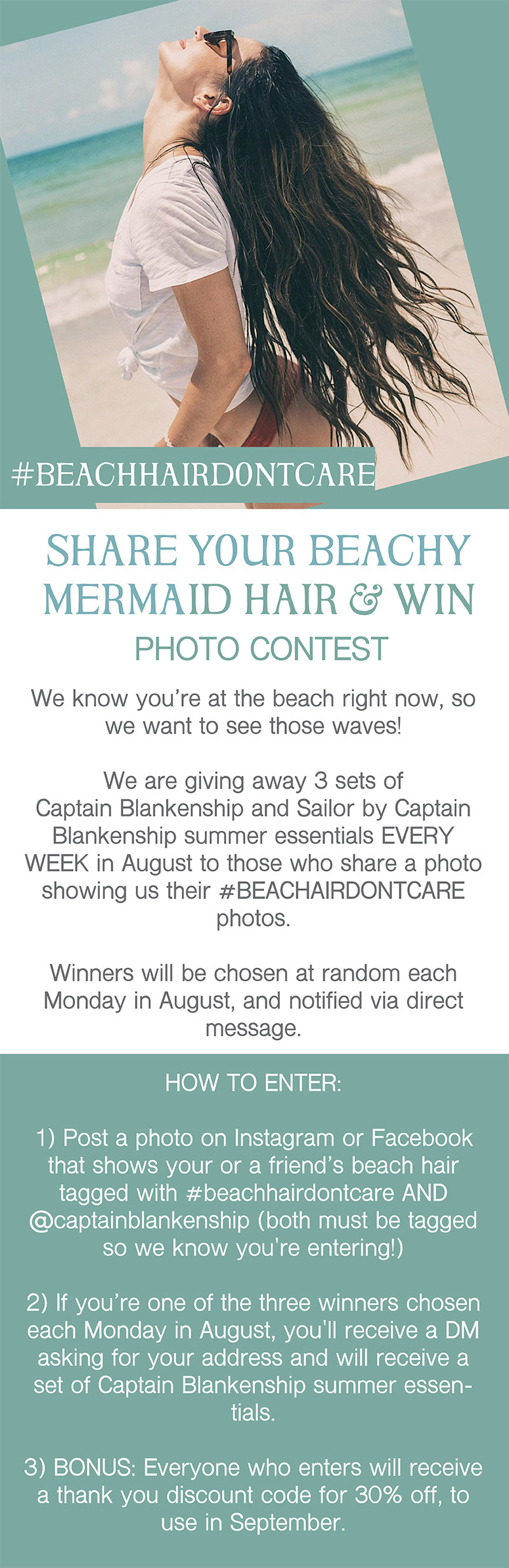 #BEACHHAIRDONTCARE photo contest, win summer essentials from Captain Blankenship