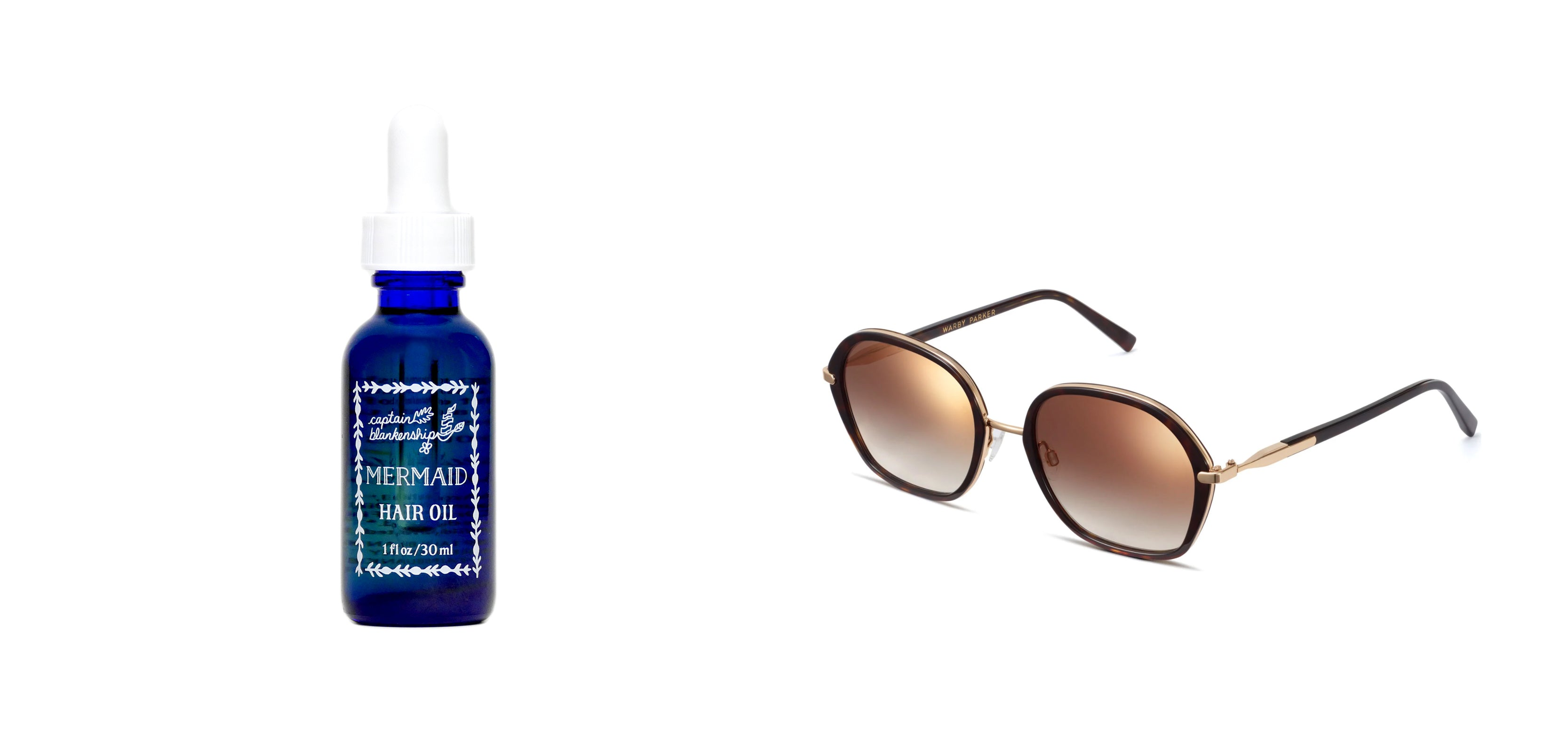 Mermaid Hair Oil, Warby Parker Sunglasses