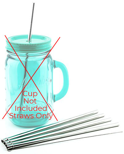 4 Pack Cocostraw for Aladdin Mason Jar 32 oz Tumbler PerfectFIT 18/8 Stainless Steel Drinking Straws With Cleaning Brush