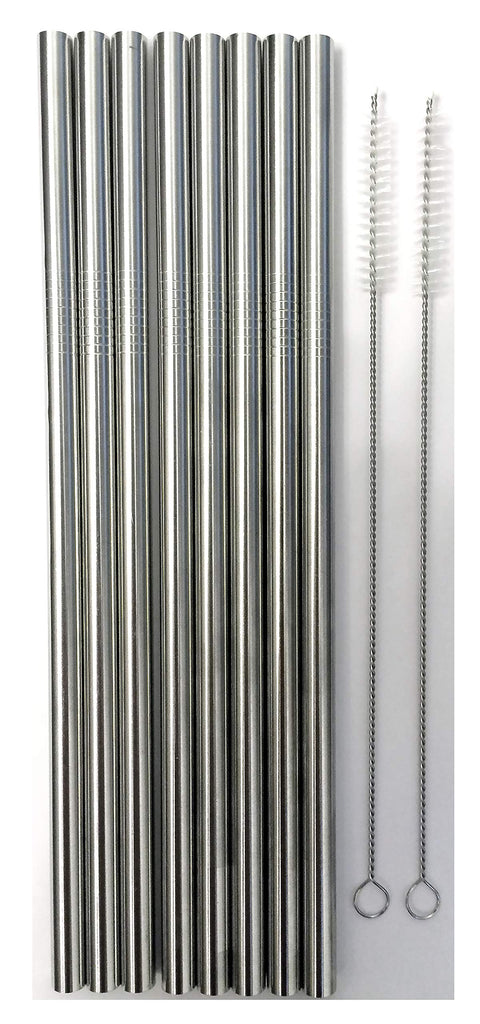 8 Stainless Steel Wide Smoothie Straws - CocoStraw Large Straight Frozen Drink Straw - 8 Pack + 2 Cleaning Brush (8)