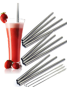 12 Stainless Steel Wide Drink Straws - CocoStraw Large Straight Frozen Smoothie Straw - 12 Pack + 3 Cleaning Brushes