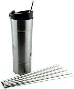4 Pack Cocostraw for Bubba Hero 20 oz Silver Tumbler PerfectFIT 18/8 Stainless Steel Drinking Straws With Cleaning Brush