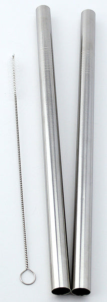 "2 Stainless Steel Straws Big Straw Extra Wide 1/2"" x 9.5"" Long Thick FAT - CocoStraw Brand"
