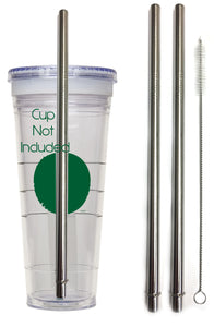 Travel Mug Replacement Straws- 2qty - Stainless Steel Drink for Hot & Cold Grande To-Go Drinking Tumbler Rambler Cups