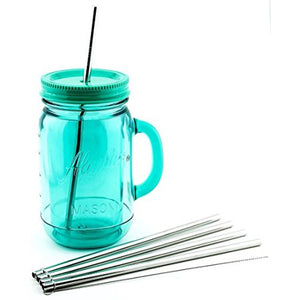 4 Pack Cocostraw Stainless Steel Straws for The Pioneer Woman Canning Jar 32 oz Tumbler 18/8 Drinking Cleaning Brush