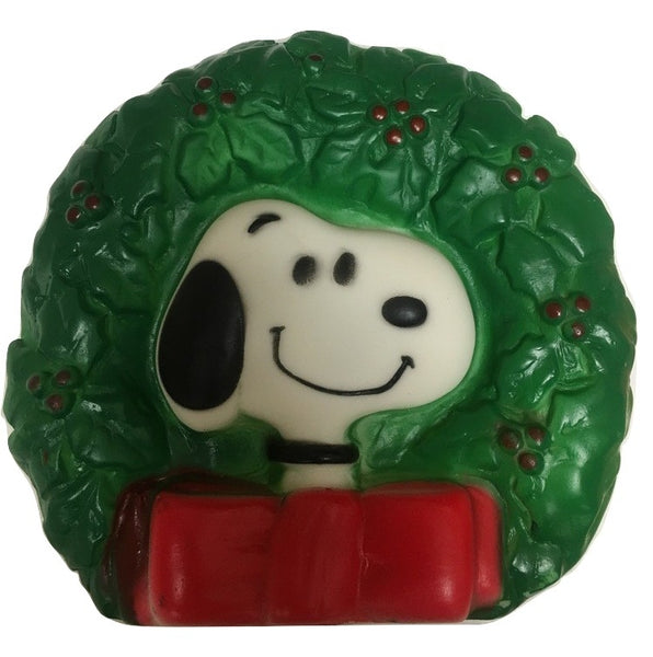 Peanuts Snoopy Vinyl Squeak Pet Toy Christmas Wreath Vintage Dog Gift