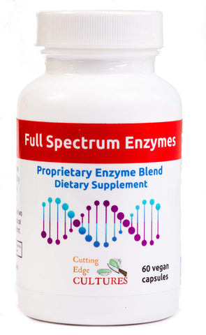 Full Spectrum Enzymes Cutting Edge Cultures VEGAN 60 capsules Proprietary Blend Digestion Protease Peptidase Bromelain & more