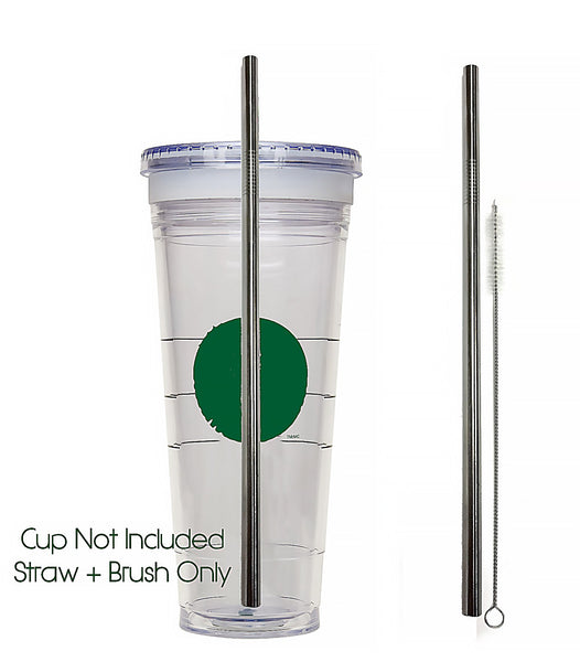 Venti Replacement Straw + Cleaning Brush For To-Go Cup - Stainless Steel + Cleaner VENTI Frappuccino Blended Cold Tumbler Reusable