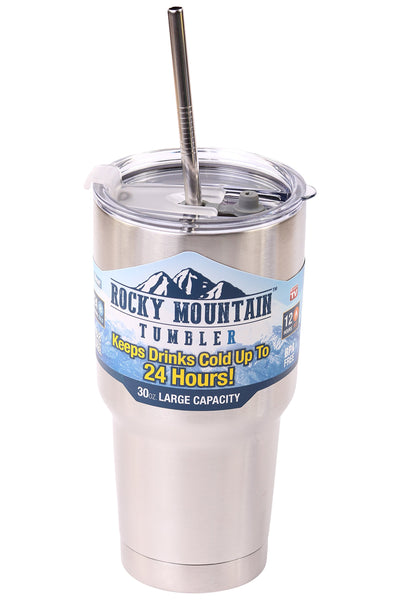 4 Bend Stainless Steel Straws for Rocky Mountain 30 Ounce Double-Wall Tumbler Vacuum Cup - CocoStraw Brand Drinking Straw TV