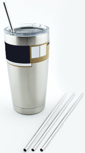 4 Stainless Steel Drinking Straws fits Yeti Tumbler Rambler Cups - CocoStraw Brand - for 20 oz
