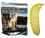 Raw Organic Nori Sheets 50 qty + Banana Slicer - COMBO - Certified Vegan, Raw, Kosher Sushi Wrap Papers - Premium Unheated, Un Cooked, untoasted, dried - RAWFOOD