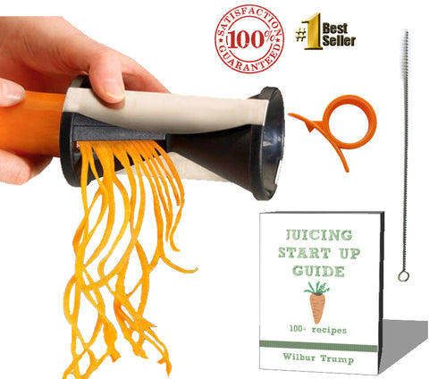 #1 Zoodle Magic  Veggie Spiralizer + BONUS PACK - eBook + Cleaning Bush + Citrus Peeler - Noodle Spiral Cutter Raw Slicer - Make RAW Low Carb Vegetable Zucchini Pasta Noodles!