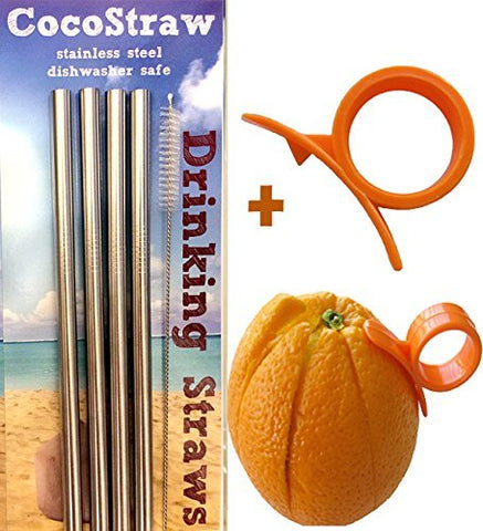 4 Stainless Steel Wide Smoothie Straws + Cleaning Brush + Citrus Peeler - CocoStraw Large Straight Frozen Drink Straw