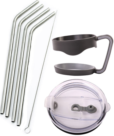 4 Stainless Steel Straws + Lid + Handle - Bend Extra LONG fits 30 oz & 20 oz Yeti Tumbler Rambler Cups - CocoStraw Brand Drinking Straw (4 Straws + Straw Lid + Handle 30oz)
