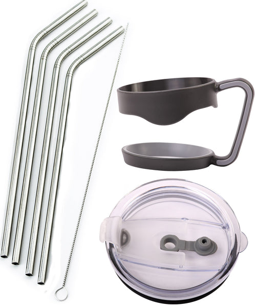 4 Bend Stainless Steel Straws Ozark Trail 30-Ounce Double-Wall Rambler Vacuum Cups - CocoStraw Brand Drinking Straw