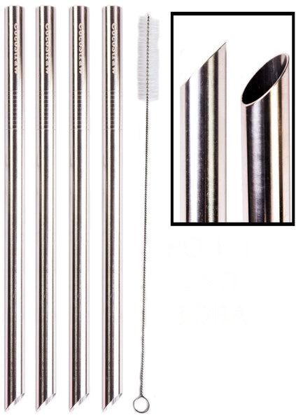 "4 POINT END BOBA Straw Stainless Steel Extra Wide 1/2"" x 9.5"" Long Tapioca Pearl Bubble Tea Thick FAT - CocoStraw Brand"