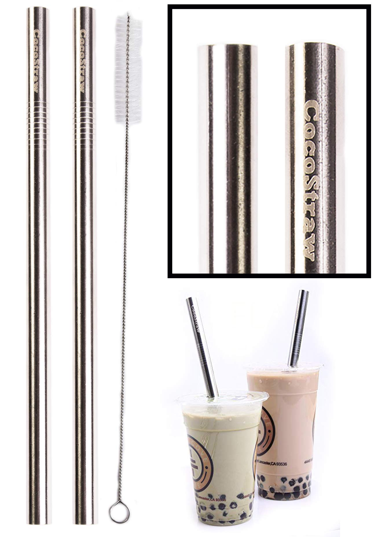 "2 BOBA Straw Stainless Steel Extra Wide 1/2"" x 9.5"" Long Tapioca Pearl Bubble Tea Thick FAT - CocoStraw Brand"