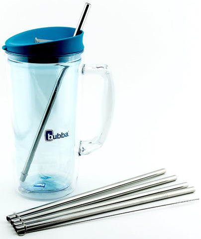 4 Pack Cocostraw for Bubba Envy 32 & 48 oz Big Tumbler PerfectFIT 18/8 Stainless Steel Drinking Straws With Cleaning Brush