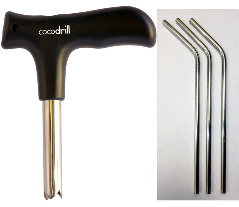 CocoDrill Coconut Opener Tool - 3 Straws Combo Pack