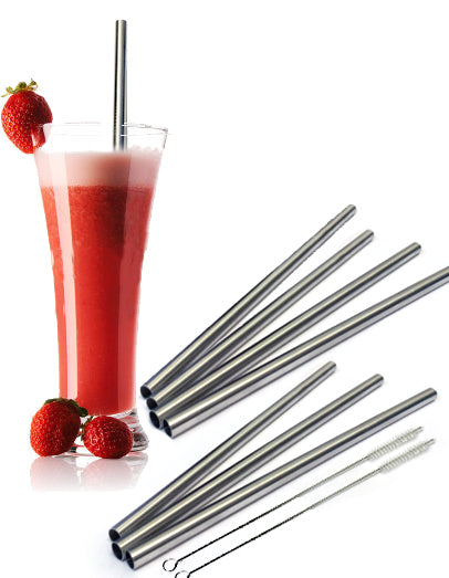 4 Stainless Steel Wide Smoothie Straws - CocoStraw Large Straight Frozen Drink Straw - 4 Pack + Cleaning Brush