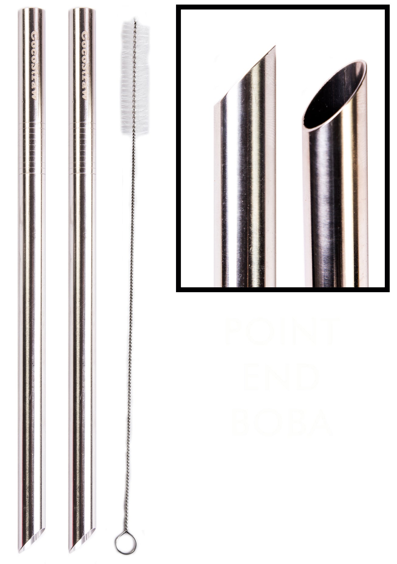 "2 POINT END BOBA Straw Stainless Steel Extra Wide 1/2"" x 9.5"" Long Tapioca Pearl Bubble Tea Thick FAT - CocoStraw Brand"
