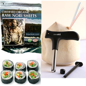 Raw Organic Nori Sheets 100 qty Pack + CocoDrill Coconut Tool -- Certified Vegan, Raw, Kosher Sushi Wrap Papers - Premium Unheated, Un Cooked, untoasted, dried - RAWFOOD