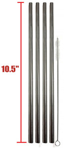 "EXTRA LONG Stainless Steel Drinking Straws 10.5"" Length 4 Qty - Wide Straight"