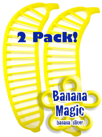 2 Pack Banana Slicer Cutters * Banana Magic * Kitchen Tool - Handy Gadget instantly slice chop banana chips no knife necessary !