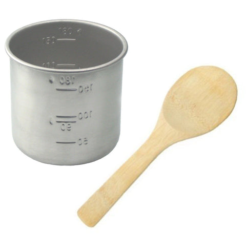 Stainless Steel Rice Measuring Cup + Rice Paddle Scoop Spatula Bamboo - Replacement for Japanese Electric Rice Cooker (1 Rice Cup + 1 Paddle)