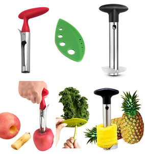 Apple Corer + Pineapple Tool + Herb Kale Stripper- Lever Tool by BRIGHT KITCHEN Stainless Steel Pear Fruit Seed Remover Cherry Red Grip with Serrated Blade (Apple + Pineapple + Herb)
