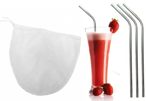 Nut Milk Bag + 3 Stainless Steel Straws By Bright Kitchen - Large Fine Nylon Mesh for Straining Mylk Juice Sprouting and More! Metal Drinking Straws Are Eco-friendly!