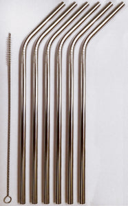 6 Reusable Straws - Stainless Steel Drinking - Set of 6 + 2 Cleaners - Eco Friendly, SAFE, NON-TOXIC non-plastic
