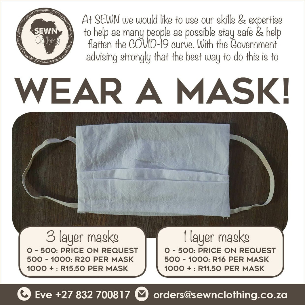 1 layer Cloth Face Masks