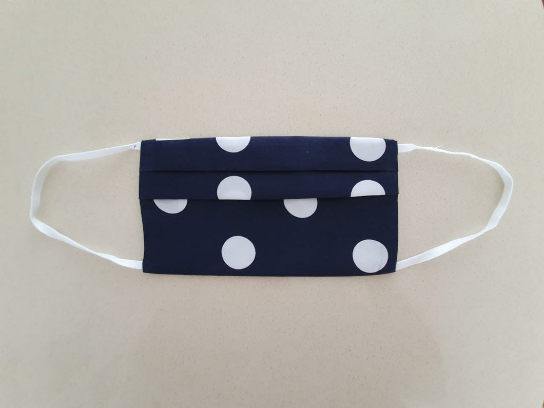 Navy Polka Dot 3 layer Cloth Face Masks