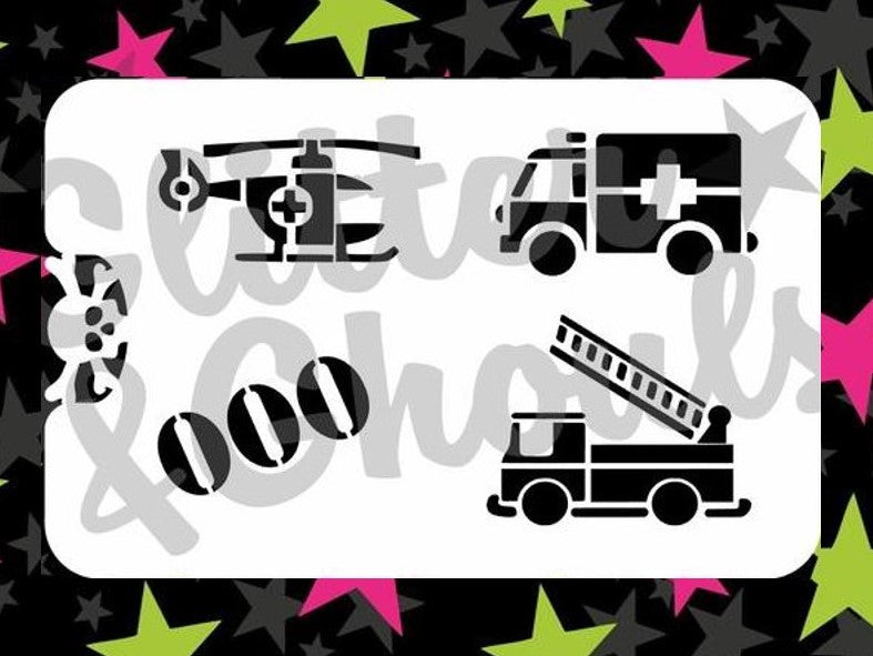 Stencil Glitter & Ghouls RESCUE 000 (size 14x9cm) 7 mil mylar