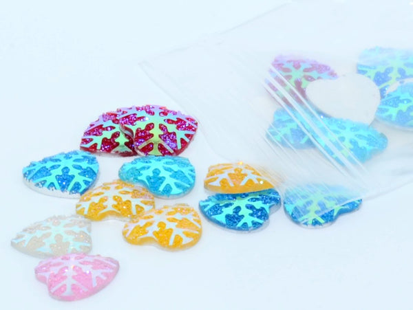 Gem S010 Snowflake Hearts MIXED 12mm 20 pack
