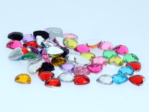 Gem S015 Hearts Mixed Colours 8mm 50 pack