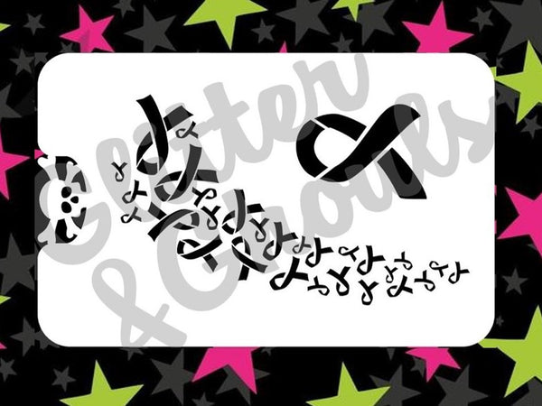Stencil Glitter & Ghouls RIBBON FOR A CAUSE SPRAY (size 14x9cm)