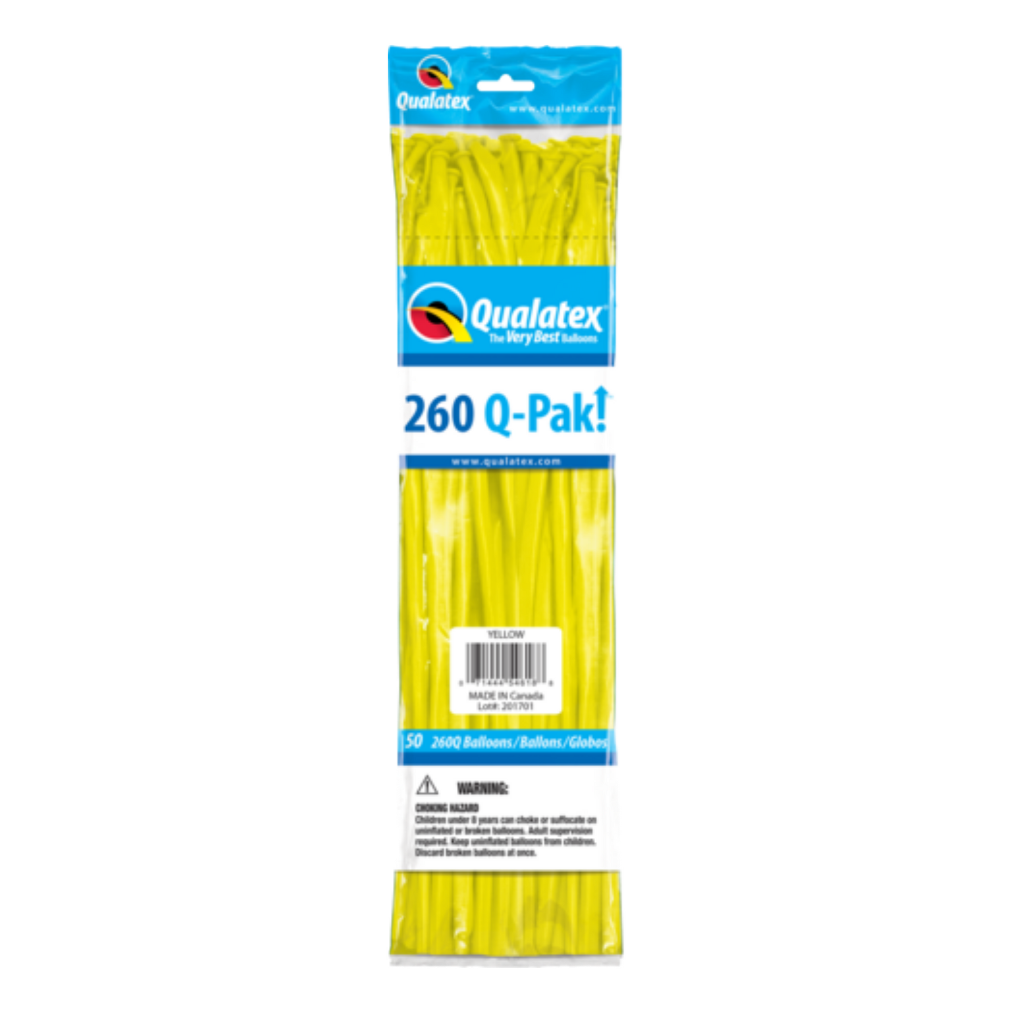 Qualatex 260 Q-Pak (50 pack) YELLOW