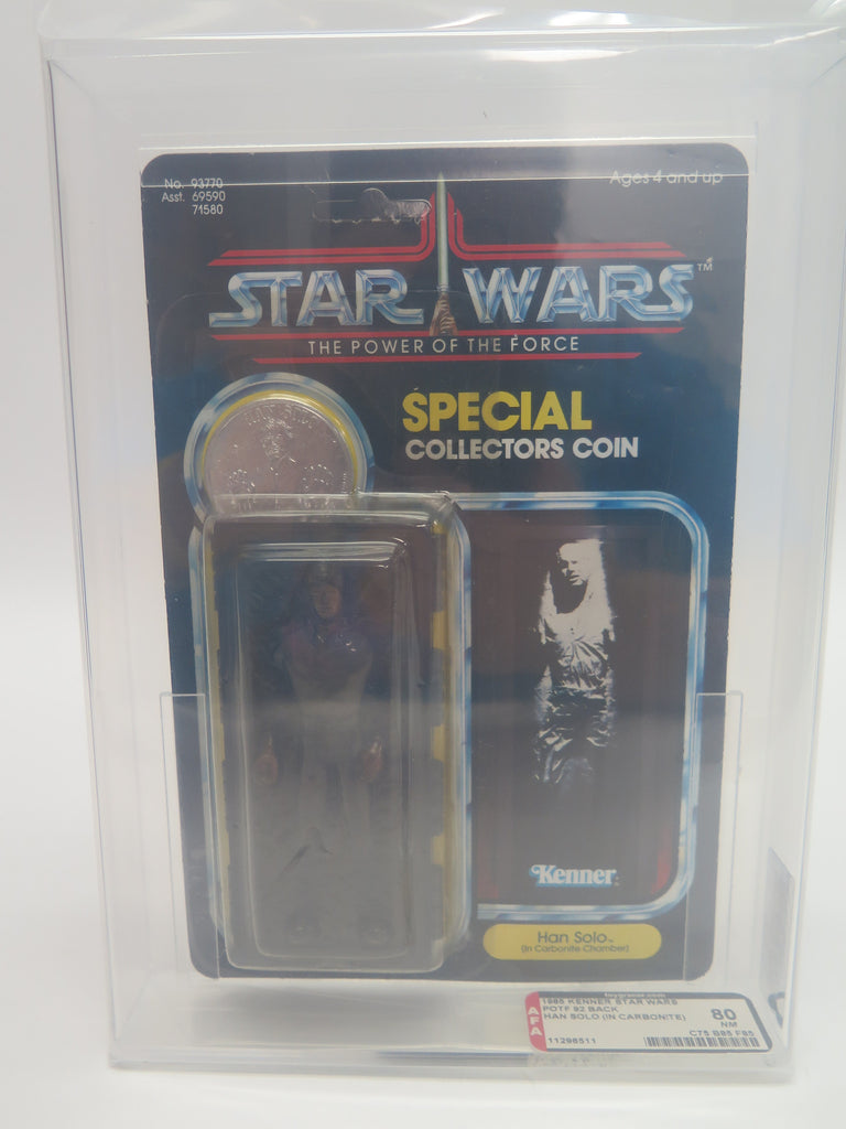 1985 Kenner Star Wars Power of the Force POTF Han Solo in Carbonite AFA 80 Clear Bubble