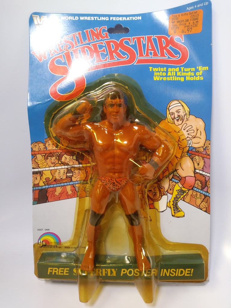 "1985 LJN WWF Wrestling Superstars ""Superfly"" Jimmy Snuka (Unused Figure With Bubble Lift)"