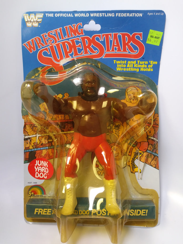 1985 LJN WWF Wrestling Superstars The Junkyard Dog JYD Red Chain Variant (Unused Figure With Bubble Lift)
