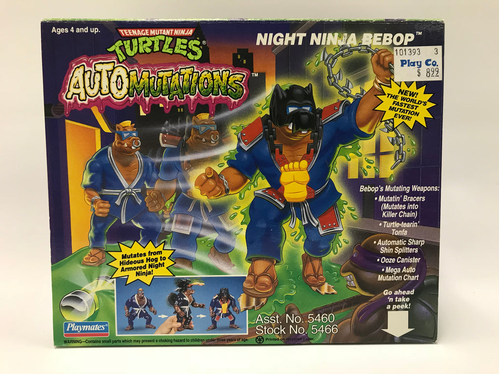 1994 Playmates Teenage Mutant Ninja Turtles TMNT Auto Mutations Night Ninja Bebop MOC SEALED