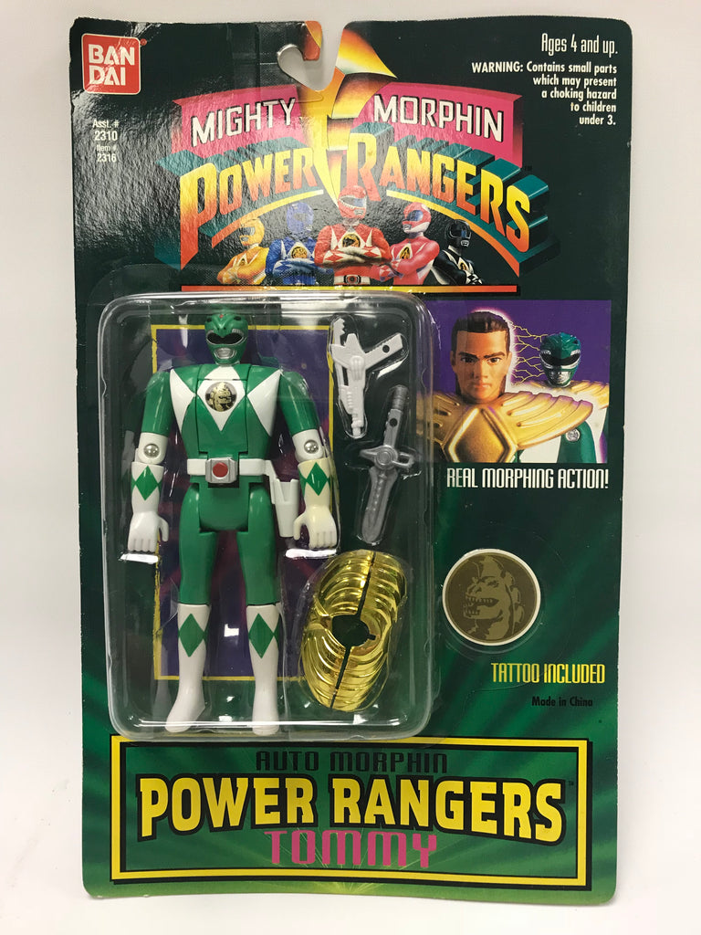 1994 Bandai Power Rangers Auto Morphin Flip Head Green Ranger Tommy Oliver MOC SEALED
